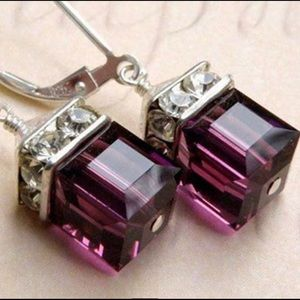 Purple Swarovski Crystal Cube Earrings